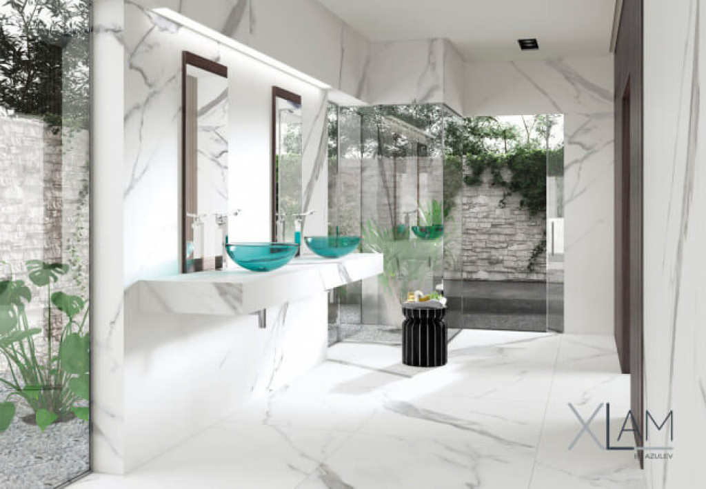 large format tiles marble effect